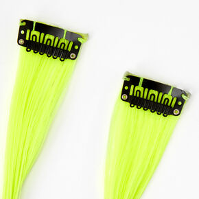 Black & Green Striped Faux Hair Clip In Extensions - 2 Pack,