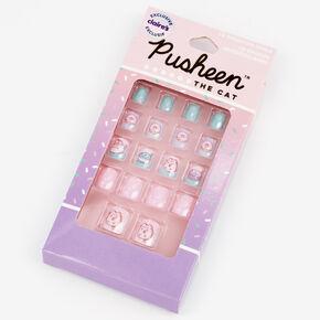 Faux ongles autocollants carrés dessert Pusheen® - Lot de 18,