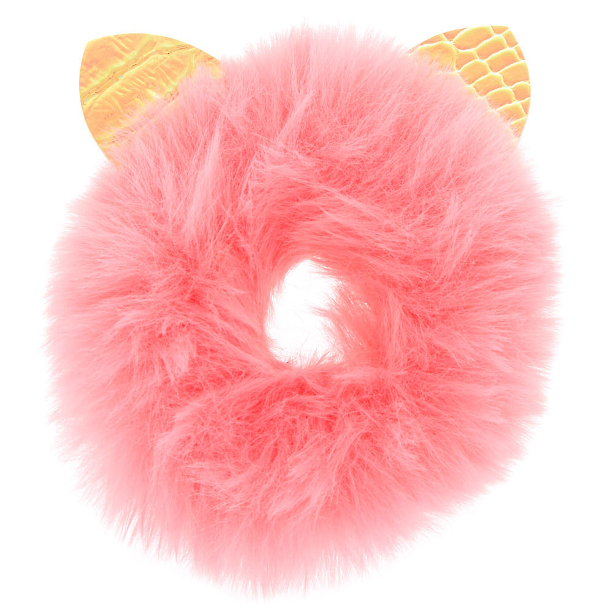 Claire's Chouchou rose avec oreilles en fausse fourrure