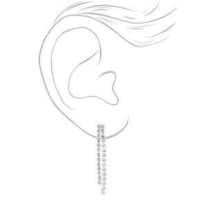 Silver Rhinestone Flapper Fringe Jewelry Set - 2 Pack,