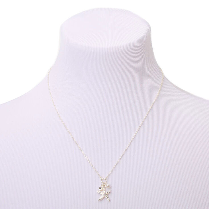 Silver Starfish Pendant Necklace,