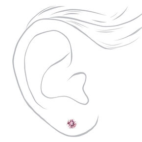 Silver Red & Pink Cubic Zirconia Round Stud Earrings - 3 Pack, 5MM,