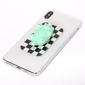 Squish Mint Cat Checkered Gummy Phone Sticker,