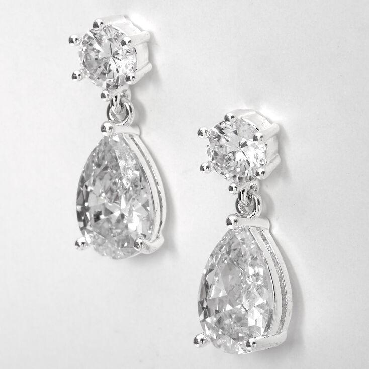 """Silver 1"""" Cubic Zirconia Teardrop Drop Earrings,"""