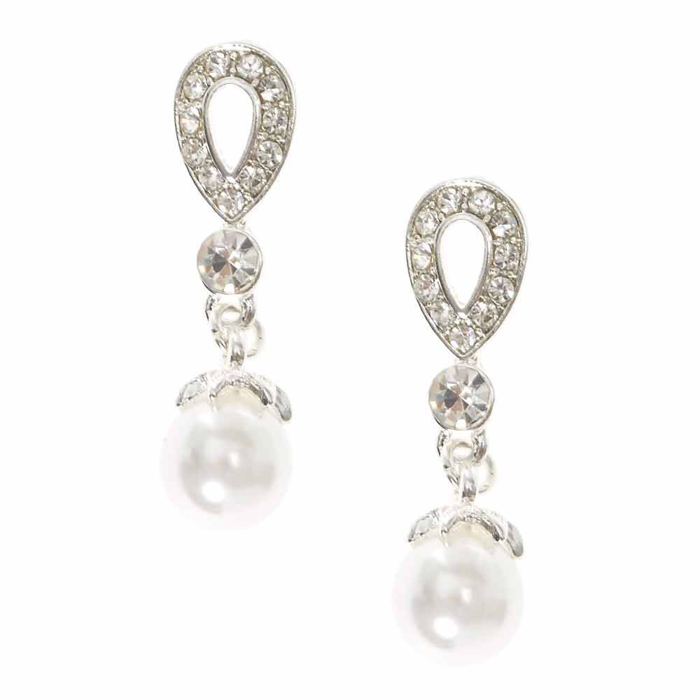 Crystal Teardrop and White Faux Pearl Clip-on Drop Earrings,