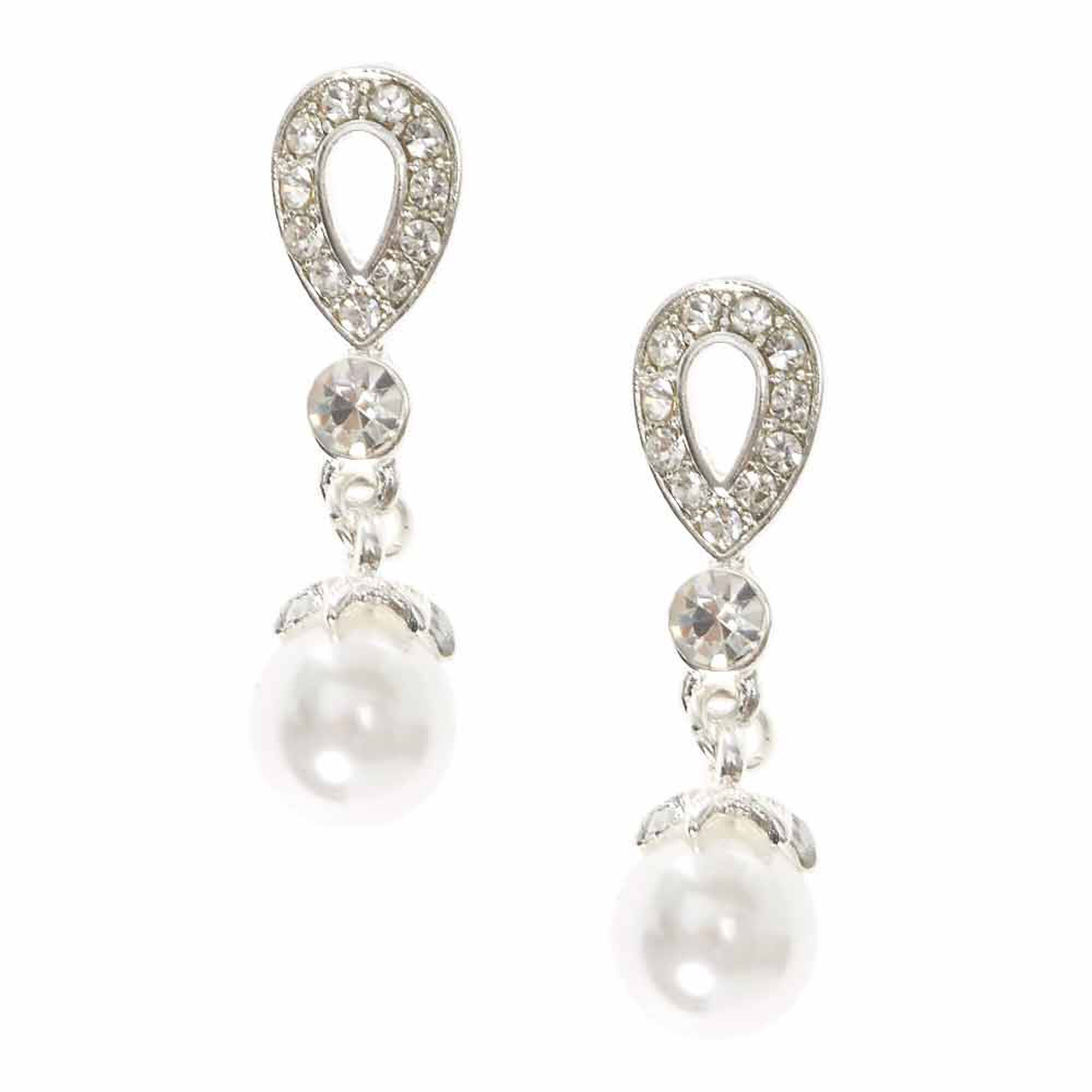 Crystal Teardrop And White Faux Pearl Clip On Drop Earrings