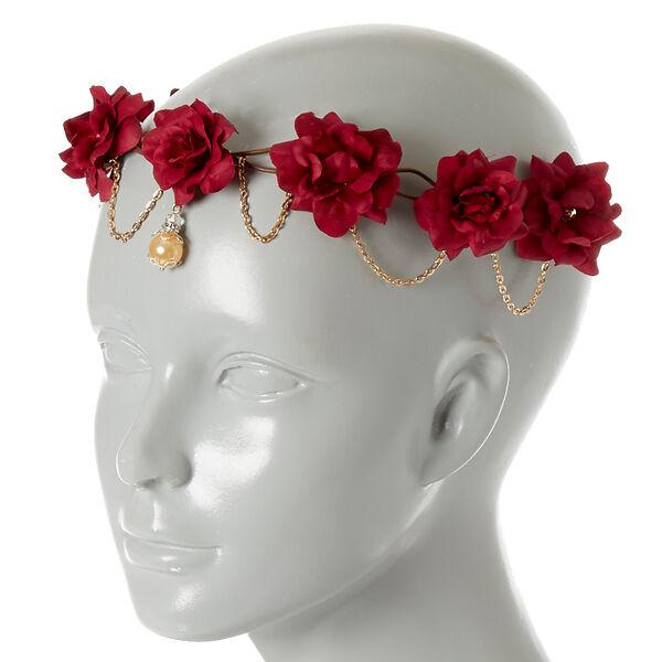 Claire's - chain burgundy flower crown headwrap - 2