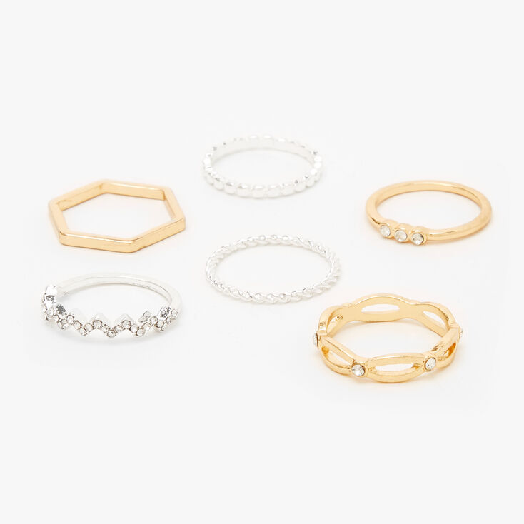 Mixed Metal Basic Chic Rings - 6 Pack,