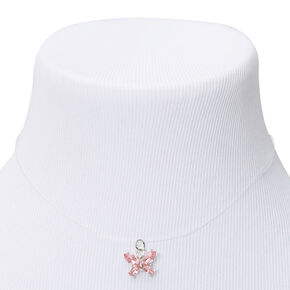 Silver Butterfly Illusion Pendant Necklace - Pink,