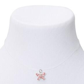 Collier à pendentif illusion papillon couleur argentée - Rose,