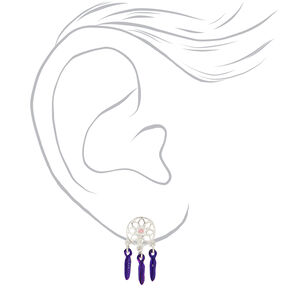 Silver Anodized Dreamcatcher Clip On Drop Earrings,