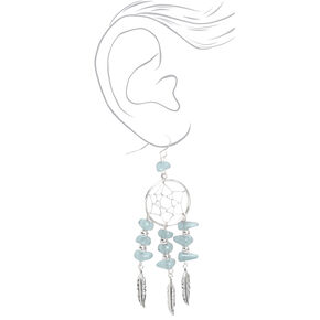 "Silver 3"" Puka Shell Dreamcatcher Drop Earrings - Grey,"