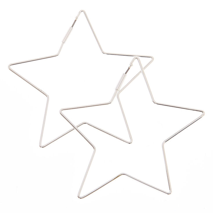 65cffd3b38c009 Silver 65MM Star Hoop Earrings | Claire's