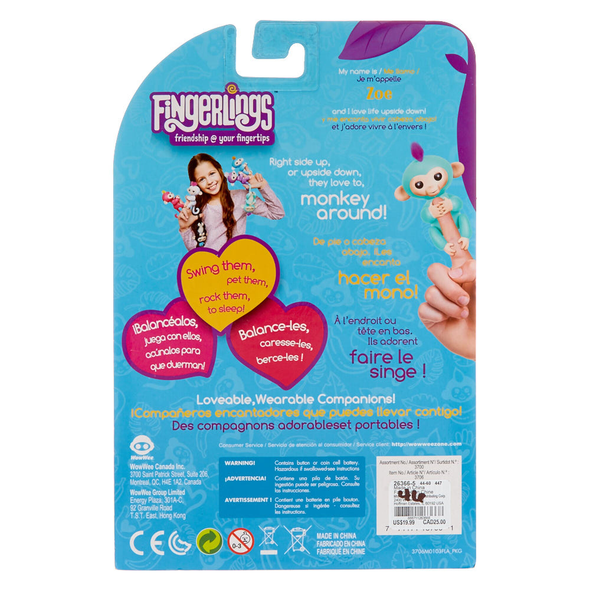 Wowwee Fingerlings Interactive Baby Monkey Toy Zoe Claires Us