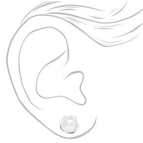 Silver Pearl Flower Stud Earrings,