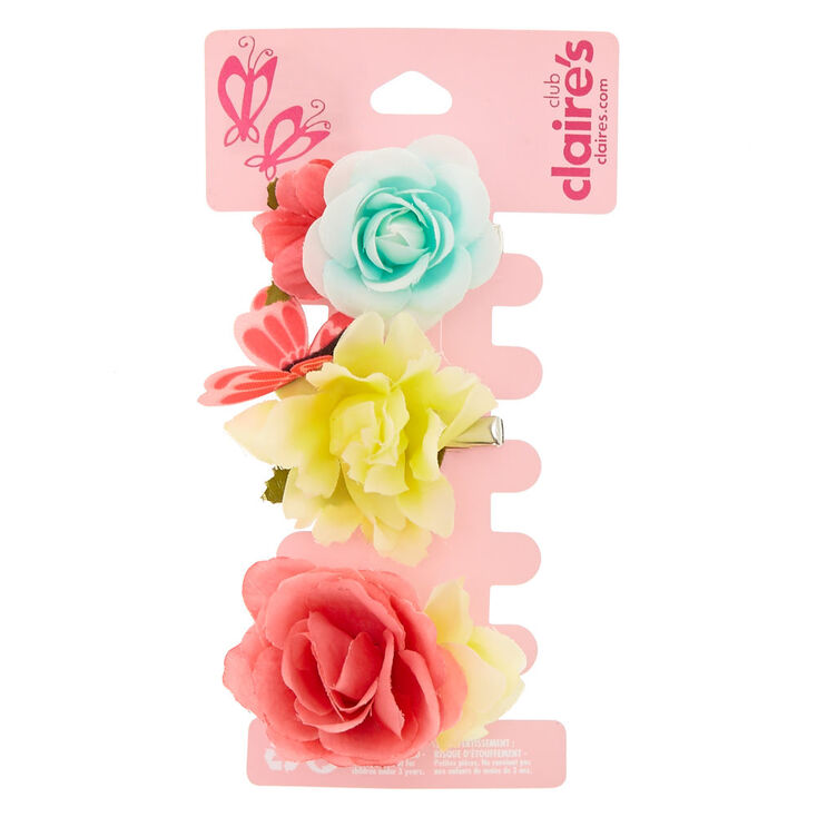 Claire's Club 3 Pack Bright Floral Hair Clips,