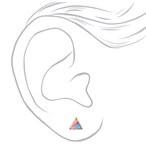 18kt Rose Gold Glitter Triangle Stud Earrings,
