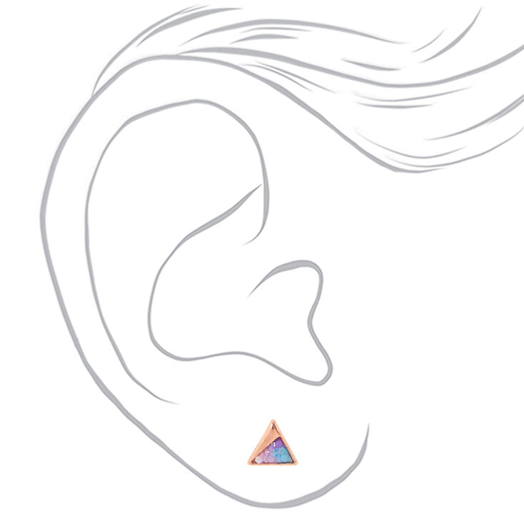 18kt Rose Gold Glitter Triangle Stud Earrings,