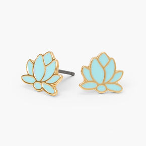 Gold Lotus Flower Stud Earrings - Mint,