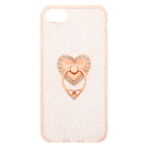 Rose Gold Heart Ring Stand Phone Case - Fits iPhone 6/7/8/SE,
