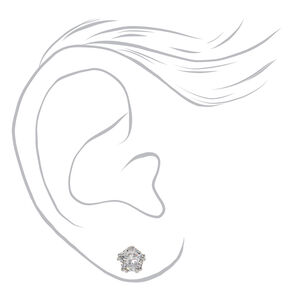 Silver Cubic Zirconia Round Crown Stud Earrings - 5MM,