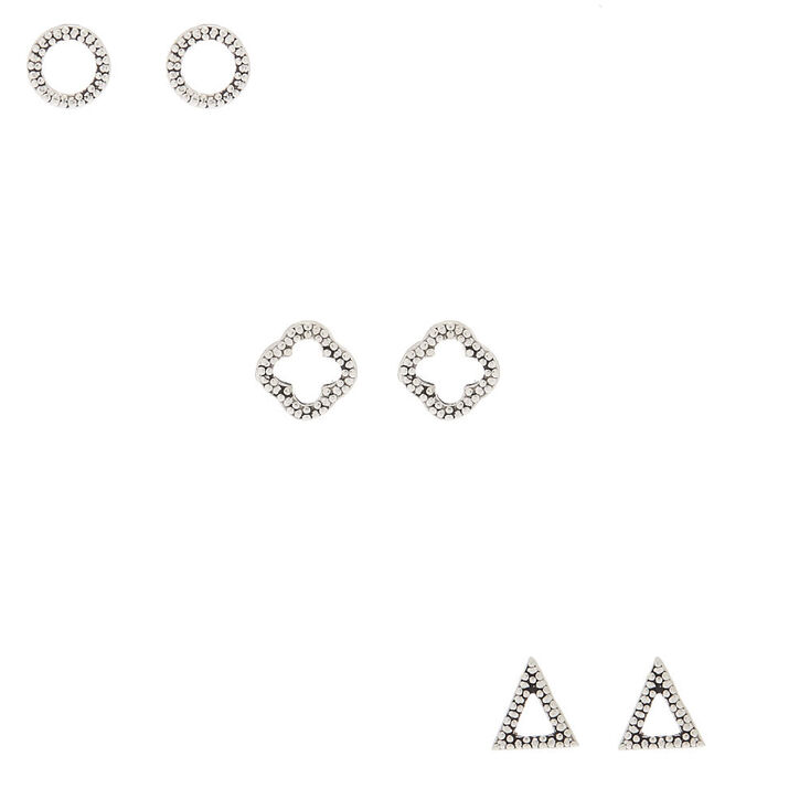 Sterling Silver Textured Geometric Stud Earrings - 3 Pack,