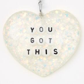 You Got This Glitter Heart Keychain,