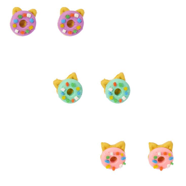 Ensemble de clous d'oreilles à tête de chat et à forme de donut,