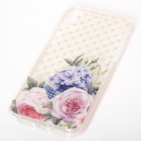 Floral Polka Dot Protective Phone Case - Fits iPhone XR,