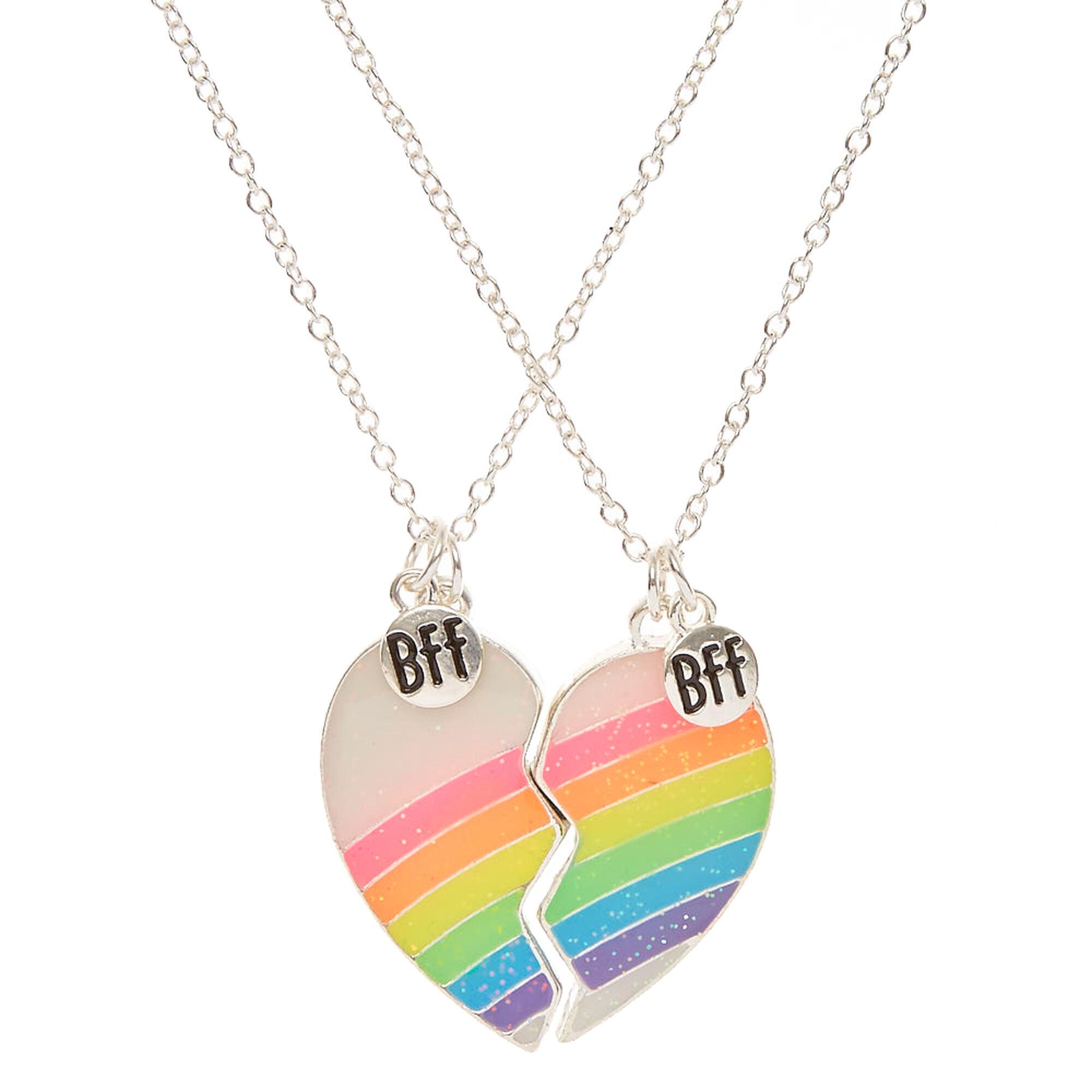Best Friends Neon Rainbow Split Heart Pendant Necklaces