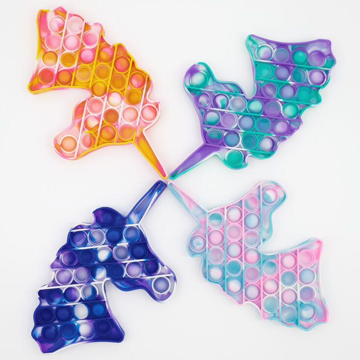 Tie-Dye Unicorn Push Poppers Fidget Toy – Styles May Vary,