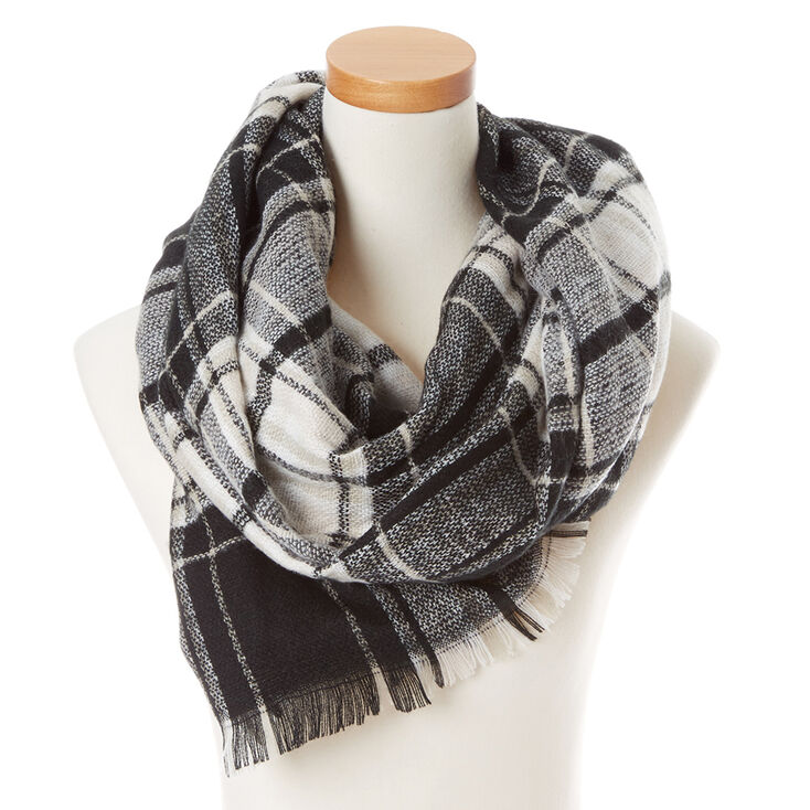 Black and White Plaid Blanket Scarf,