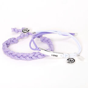 Sky Brown™ Adjustable Braided bracelets – Purple, 2 pack,