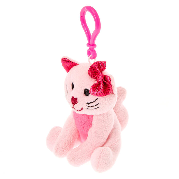 Claire's Club Avery the Cat Plush Keyring Clip - Pink,