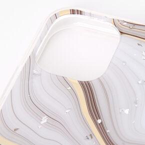 Coque de protection pour portable flocons argentés effet marbré couleur dorée - Compatible avec iPhone 11,