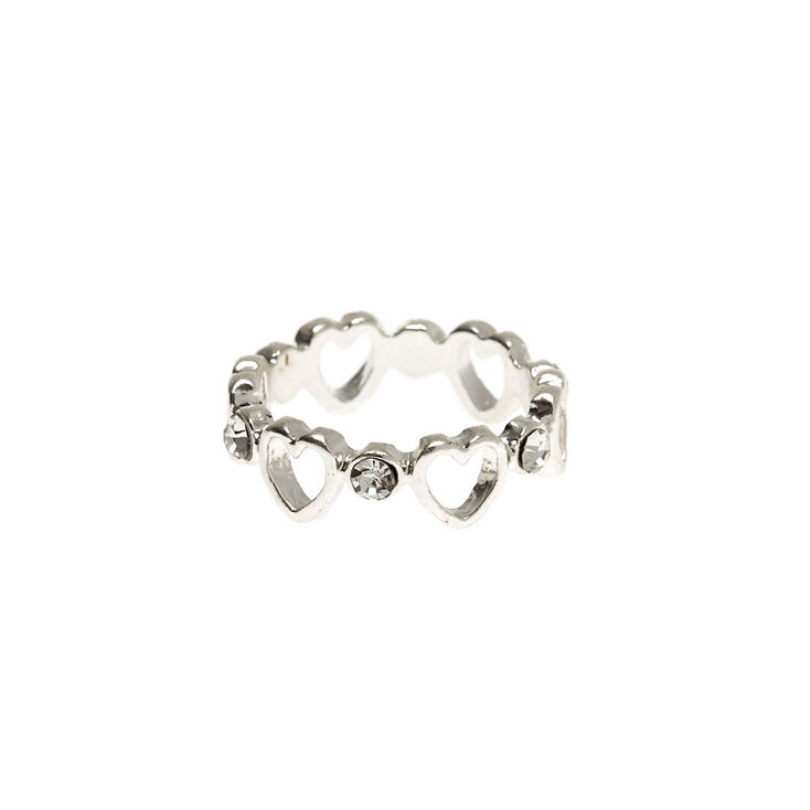 Silver Heart Chain Ring,