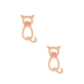 Gold Dapper Cat Stud Earrings,
