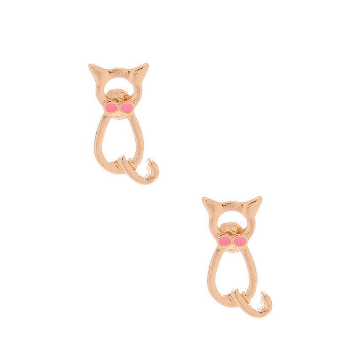 Gold Dapper Cat Stud Earrings,