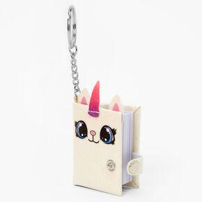 Glitter Caticorn Mini Diary Keychain - White,