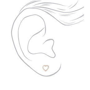 Sterling Silver Cubic Zirconia Stud Heart Earrings,