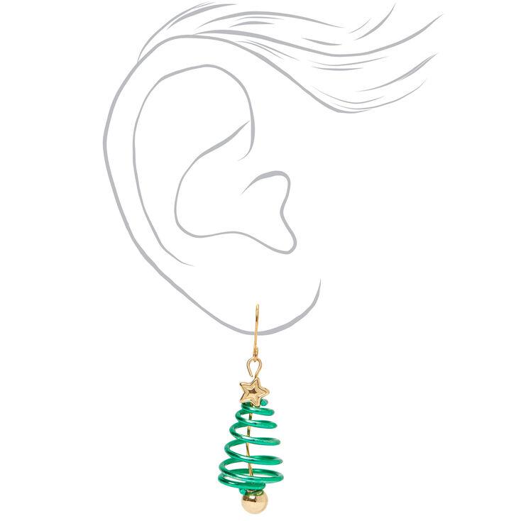 "Gold 1.5"" Spiral Christmas Tree Drop Earrings - Green,"