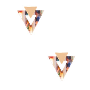 Gold Triangle Striped Resin Stud Earrings,