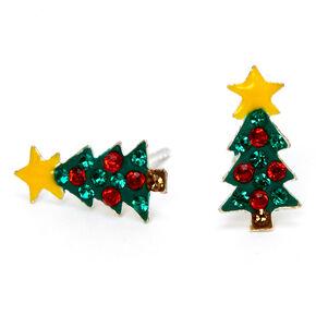 Clous d'oreilles sapin de Noël strass rouges et verts couleur argentée,