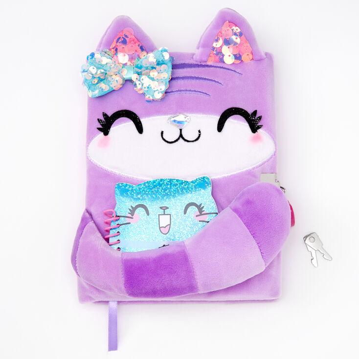 Furry Purple Cat Lock Diary,