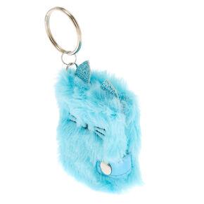 Plush Cat Mini Diary Keychain - Turquoise,