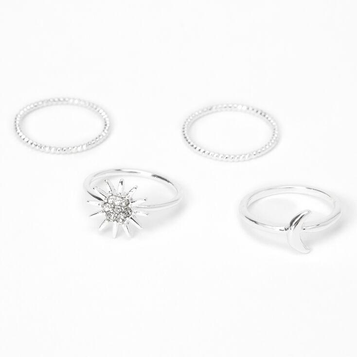 Silver Celestial Midi Rings - 4 Pack,