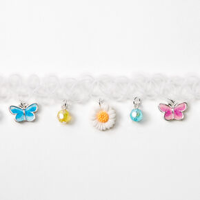 Butterflies & Flowers Tattoo Choker Necklace - White,