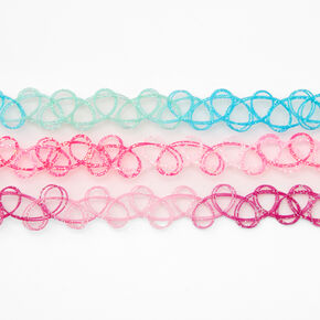Pastel Glitter Tattoo Choker Necklaces - 3 Pack,