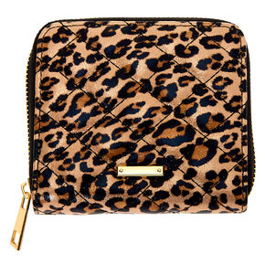 Mini porte-monnaie à zip léopard matelassé - Marron,