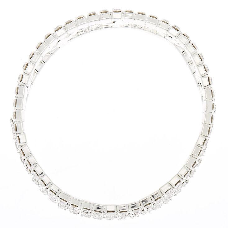 Silver Rhinestone Geometric Stretch Bracelet,